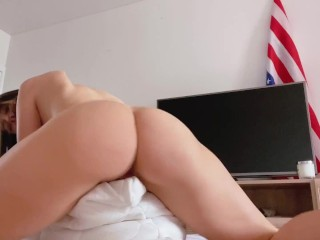 PILLOW HUMPING JUST TO SHOW HOW I WILL RIDE YOUR COCK
