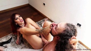Mistress Scarlet Submits Her Slave Sniffs Feet Licks Feet and Cum Femdom Foot Domination
