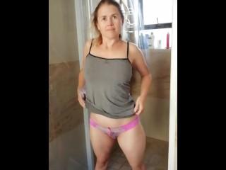 Shower washing herself...