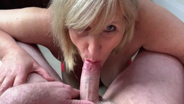 Mature Cock Hungry Whore Gobbles Cock, Guzzles Cum and loves it!