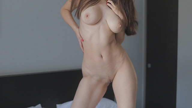 Large penis sex positions Young hottie with a beautiful body wearing only sneakers has sex on a large bed. guy cums twice