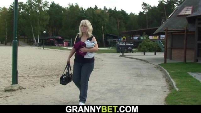 Old mature blonde rides strangers cock outdoors 11