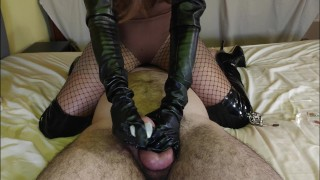 Chastity Vlog #9 - Slave Teased, Edged, Ruined & Tortured By Leather Mistress In Fishnets