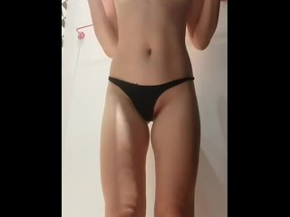 Horney blondy takes off her wet t-shirt and demonstrate small tits and long legs