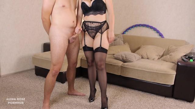 Teen english teacher in sexy lingerie handjob and thigjob - cum panties 17