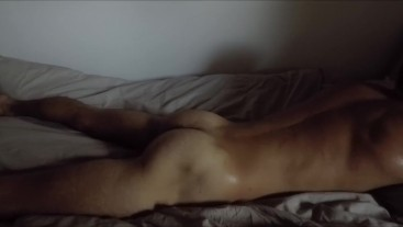 hot guy spanking himself while humping pillow for a LOUD SHAKING WET ORGASM