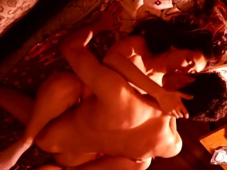 Young latin couple making love at home