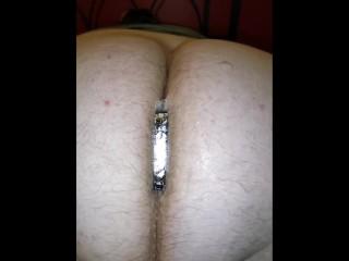 Mistress Super Glues butt plug into slaves ass hole!