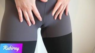 Fitness Babe Makes Me Cum in Her Panties And Pull Them in Her Yoga Leggings