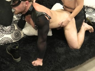 He sucked the strap-on and was fucked hard by it. Footjob strap-on combo.