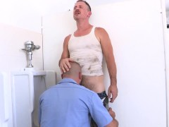 Trashy Men Sucking Dick At A Urinal