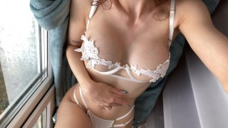 Hot masturbation and ass fuck on the windowsill