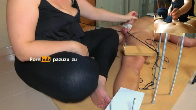 Amateur. A little footjob. I Tied his Balls & Cock and Ruined his Orgasm Twice. Post Orgasm Torture 11