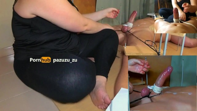 Amateur. A little footjob. I Tied his Balls & Cock and Ruined his Orgasm Twice. Post Orgasm Torture 49