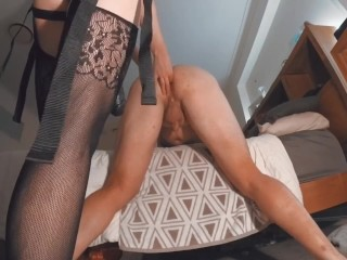 Hot Young Wife Pegging Husband With Big Black Cock Followed by Big Cumshot PART 1