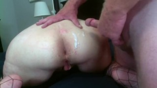 Mature Mom Has Her Ass Played With While Stepdad Jacks Off Cums On Her Butt