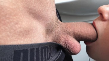 SWALLOWS MY COCK IN THE BATHROOM