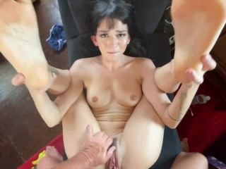 Magic Foot Job from Petite hottie Riley Jean with Chunky Tight Hairy Pussy
