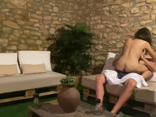 Step sister fucks stepbrother in parents backyard while mom is not home