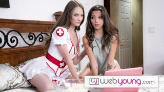 Screen Capture of Video Titled: WebYoung Hot Babes Decide To Skip The Halloween Party To Fuck While Watching Horror Movies