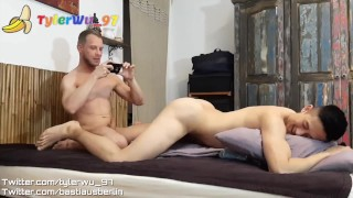 German daddy shave an asian boy's ass before fucking (Tyler Wu)