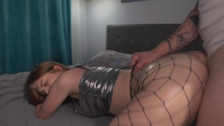 Slut in pantyhose was deftly fucked with oil on her ass