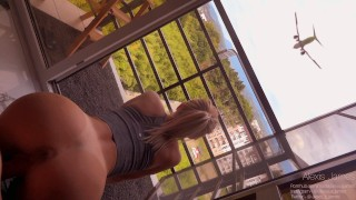 Fucked sexy girl neighbor on the balcony while she was doing yoga when her husband left for work