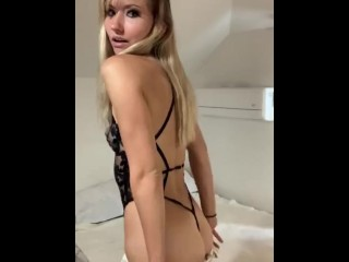 Hot Blonde Strips Out Of Business Casual For Lingerie Tease