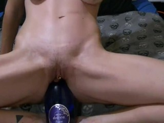 corkscrew and wine bottle masturbation squirt and piss