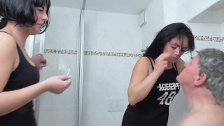 2 german cruel doms humiliate old slave to eat their snot and ear wax