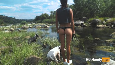 200816 Dogs walkout Part 2 - Hot milf Jumping over river rapids for get a fuck (Full)