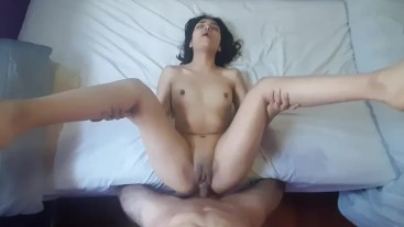 Latina with beautiful feet is fucked by her boyfriend after she gave him a blowjob