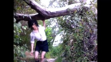 Boy scout in short shorts wanks his twink dick outdoors in the forest and cums on the rocks