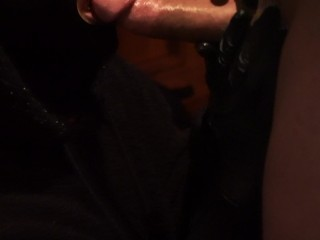 CLOSE UP, BIG COCK SWALLOWING WEARING MY GAG MASK