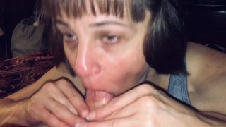 Mature Hot Wife sucking off our friends dick while I record and ask questions.