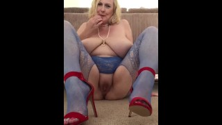 Annabel's crotchless BLUE bodystocking