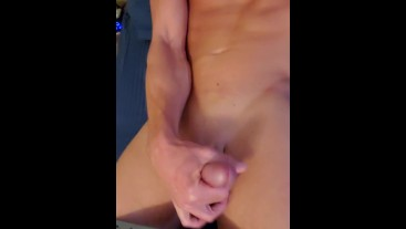 Sexy guy naked in bed jerking off