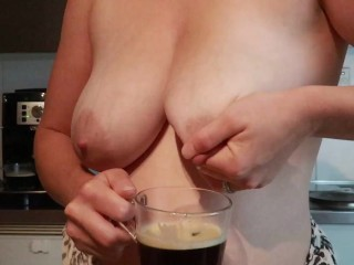 Coffee with fresh breast milk lactating