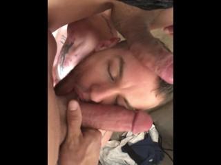 Hung bottom swallows cocks...