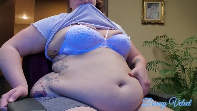 BBW Belly Play & Belly Button Fuck at Work 21