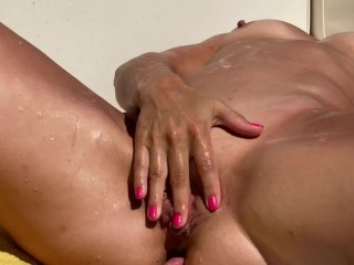 Petite Submissive Milf Tanning Ordered to Strip and Squirts in Public—CumPlayWithUs2