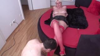 foot slave bobby have to worship the red nylon feet of bizarrlady jessica