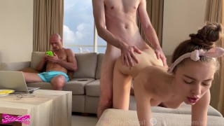 Screen Capture of Video Titled: Couple fucking while their cuckold friend watches - SolaZola
