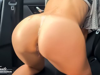 His friend still fucks me, passionate sex in the car! amateur couple LustTaste 4K
