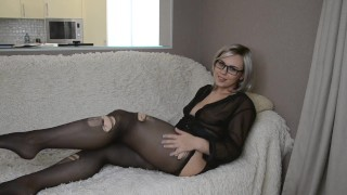 Cherryl Colle's bare legs in torn pantyhose