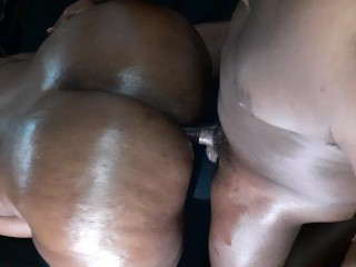 Ebony too much ass to handle cum covered...
