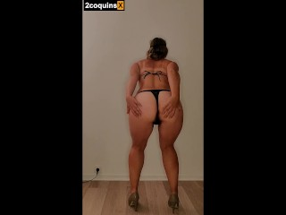 Sexy chubby milf wearing black body lace in...