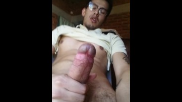 Tasty tattooed gifted man pulls his cock until he cums