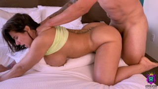 Busty Brunette Wife was woken up just to give her a rough and fast anal fuck