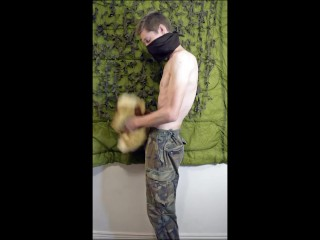 Femboy Soldier Guy Fucking Plushie Hard Then Squirts on Own Stomach While Wearing Military Gear